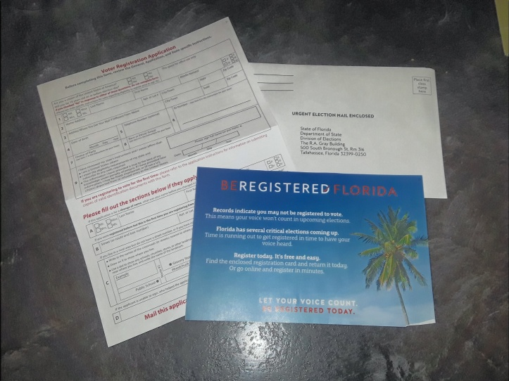 Off Topic – Received a Be Registered Florida in the Mail