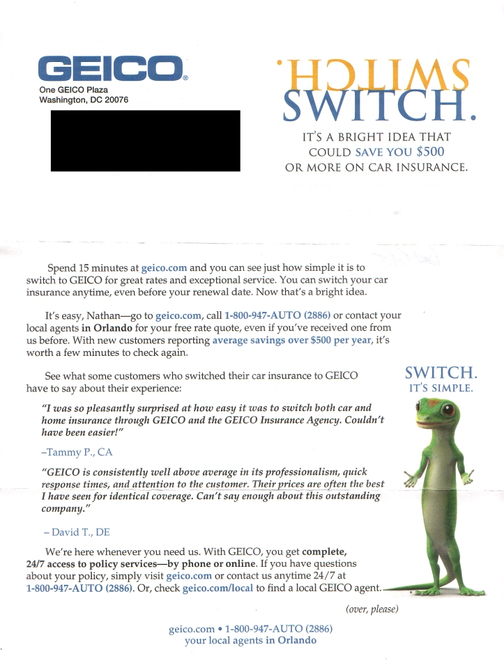 Mail Box Receiving Promotional Material From Geico Insurance